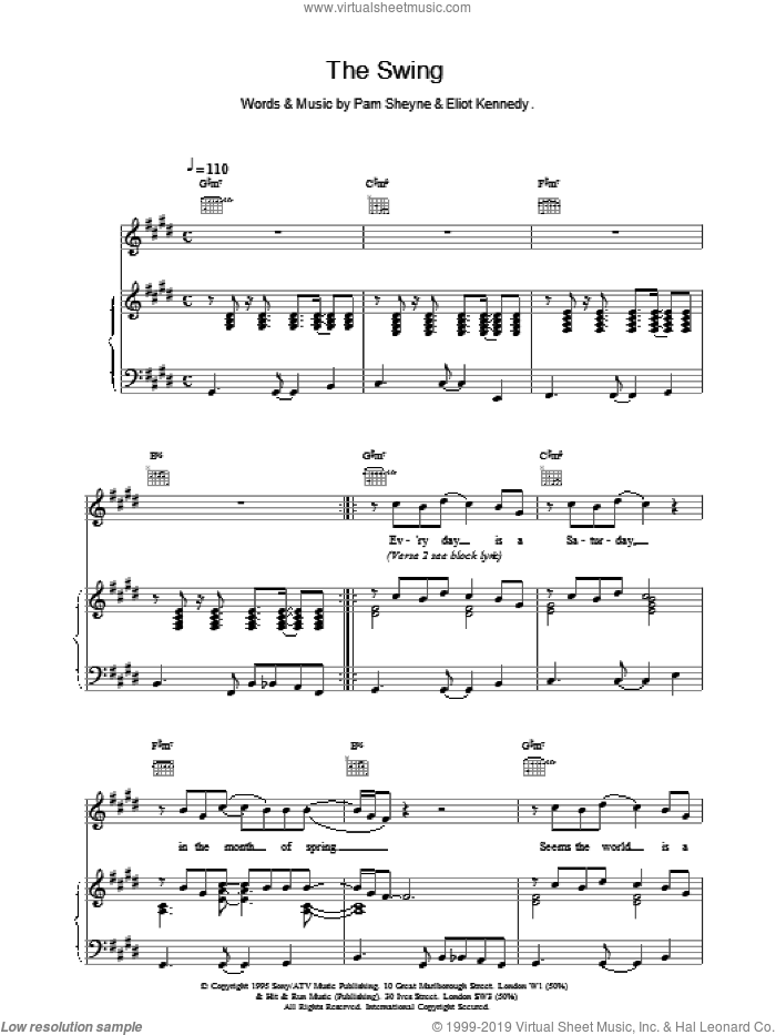 The Swing sheet music for voice, piano or guitar by 911, Eliot Kennedy and Pam Sheyne, intermediate skill level