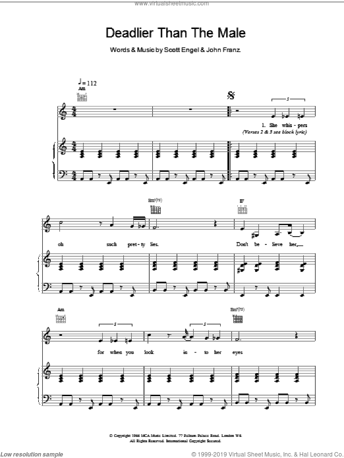 Deadlier Than The Male sheet music for voice, piano or guitar by Scott Walker, intermediate. Score Image Preview.