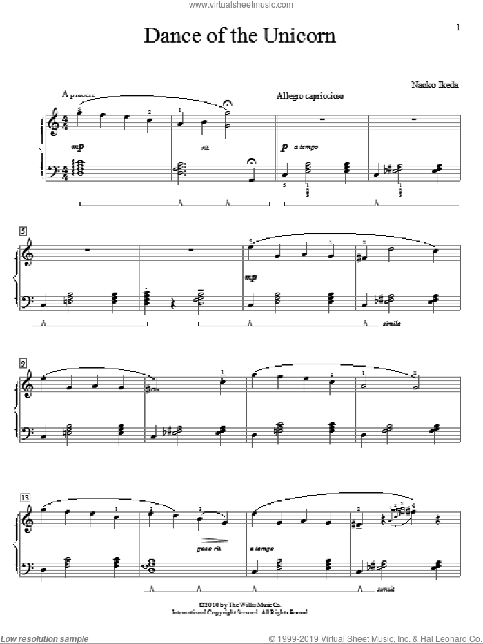 Dance Of The Unicorn sheet music for piano solo (elementary) by Naoko Ikeda, beginner piano (elementary). Score Image Preview.