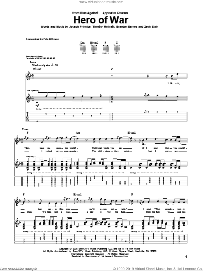Hero Of War sheet music for guitar (tablature) by Zach Blair and Brandon Barnes. Score Image Preview.