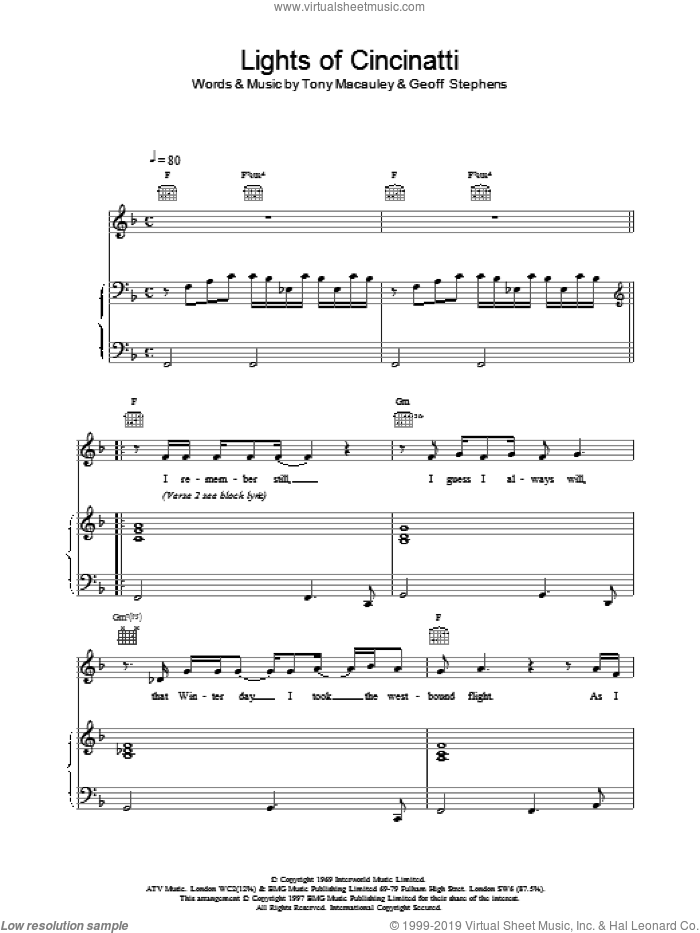 Lights of Cincinatti sheet music for voice, piano or guitar by Tony MacAuley, Scott Walker and Geoff Stephens. Score Image Preview.