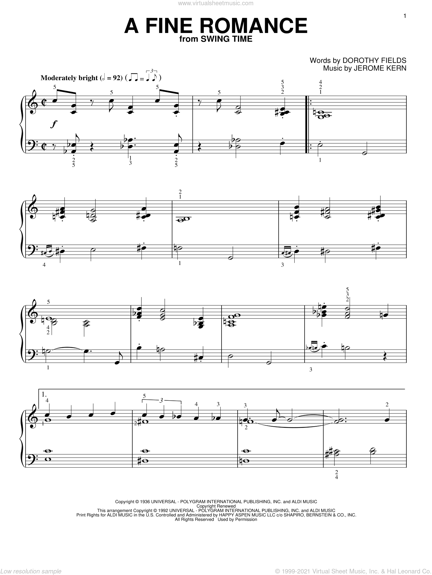 A Fine Romance sheet music for piano solo by Jerome Kern and Dorothy Fields, intermediate skill level
