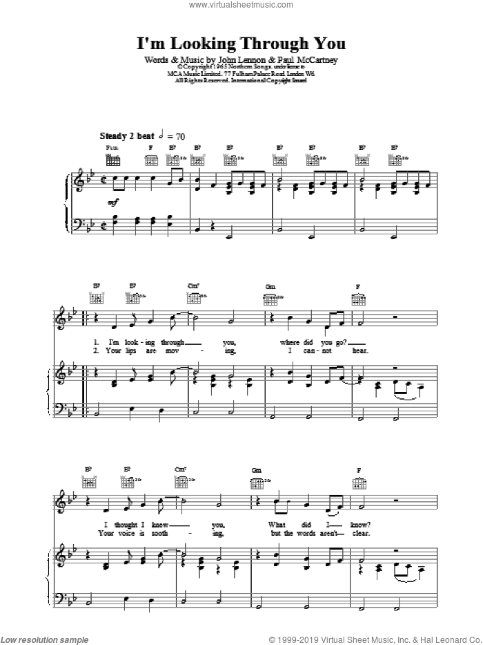I'm Looking Through You sheet music for voice, piano or guitar by The Beatles, intermediate