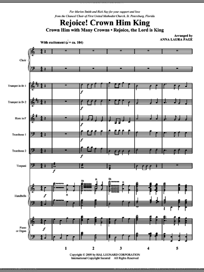 Rejoice! Crown Him King (COMPLETE) sheet music for orchestra/band (Special) by Anna Laura Page, intermediate skill level