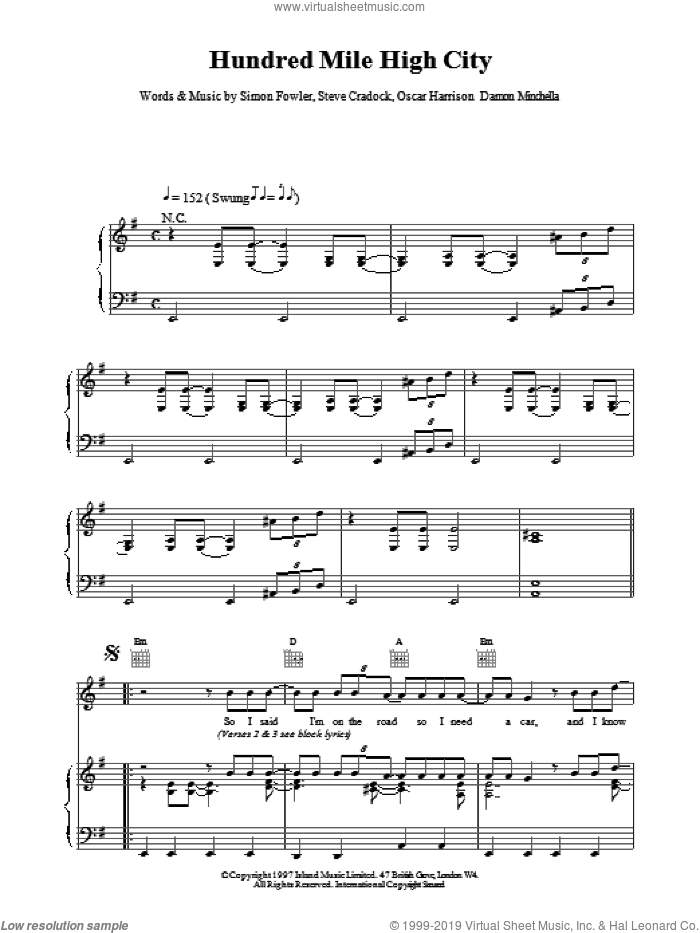 Hundred Mile High City sheet music for voice, piano or guitar by Ocean Colour Scene, intermediate. Score Image Preview.