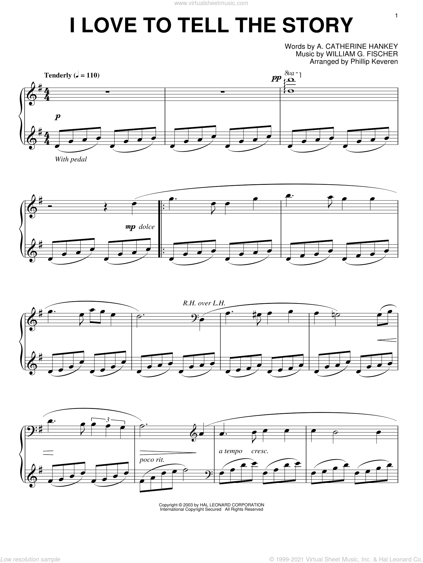 I Love To Tell The Story sheet music for piano solo by A. Catherine Hankey, Phillip Keveren and William G. Fischer, intermediate skill level