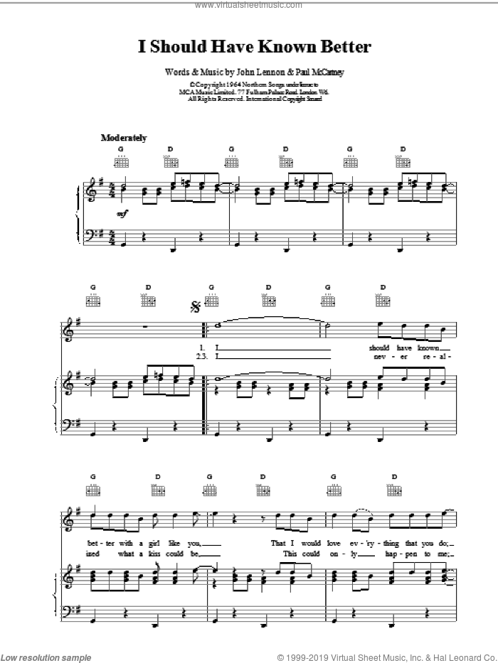 I Should Have Known Better sheet music for voice, piano or guitar by The Beatles. Score Image Preview.