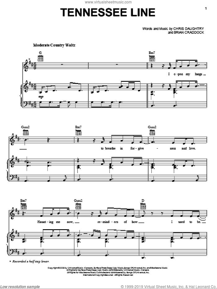 Tennessee Line sheet music for voice, piano or guitar by Chris Daughtry, Daughtry and Brian Craddock. Score Image Preview.
