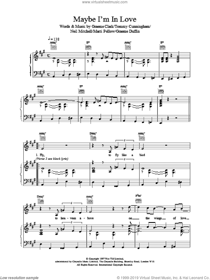 Maybe I'm In Love sheet music for voice, piano or guitar by Neil Mitchell and Wet Wet Wet. Score Image Preview.