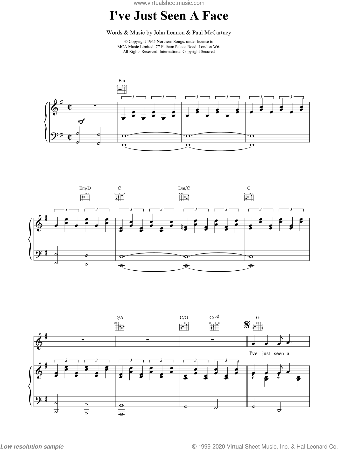 I've Just Seen A Face sheet music for voice, piano or guitar by The Beatles, intermediate. Score Image Preview.
