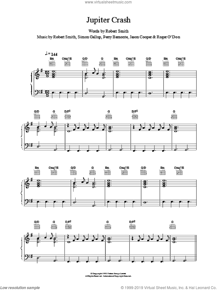 Jupiter Crash sheet music for voice, piano or guitar by The Cure, intermediate. Score Image Preview.