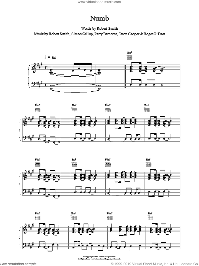 Numb sheet music for voice, piano or guitar by The Cure, intermediate. Score Image Preview.