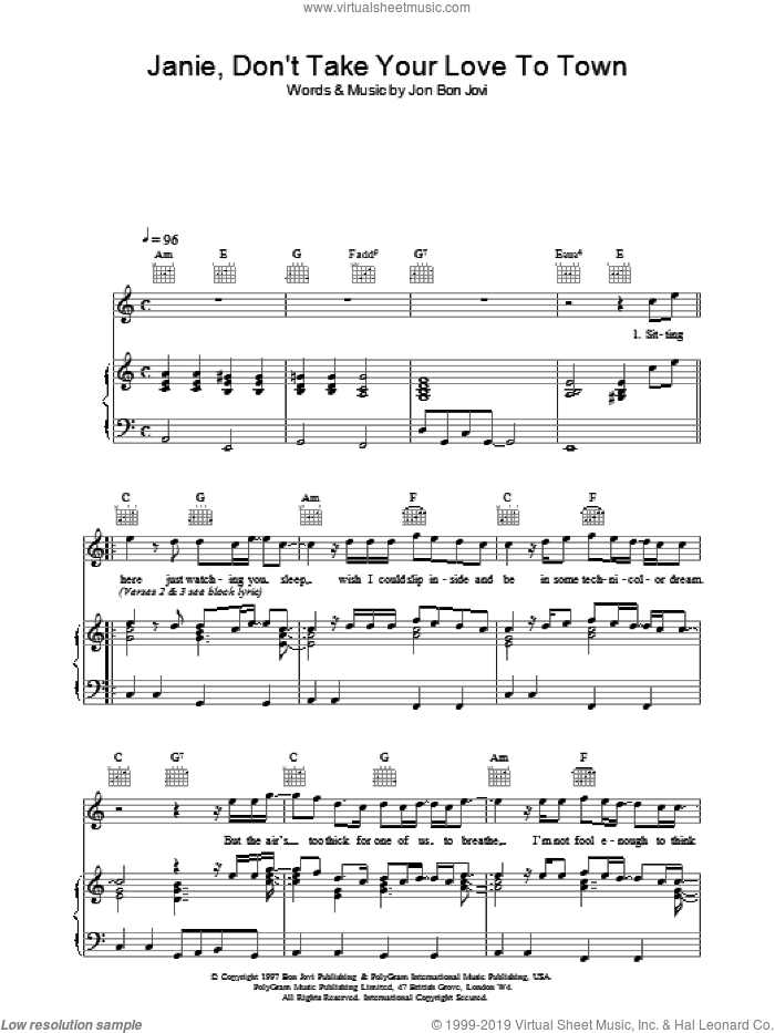 Janie, Don't Take Your Love To Town sheet music for voice, piano or guitar by Bon Jovi, intermediate skill level