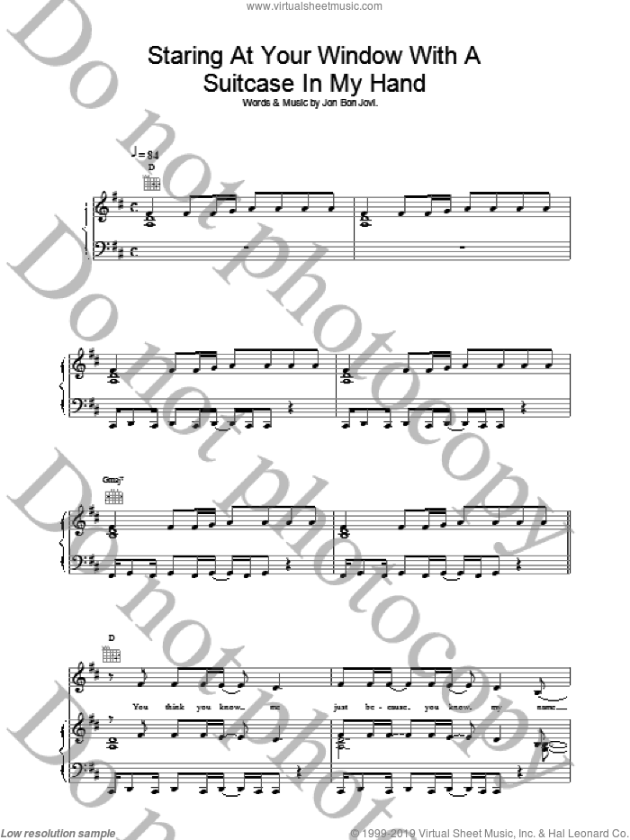 Staring At Your Window With A Suitcase In My Hand sheet music for voice, piano or guitar by Bon Jovi. Score Image Preview.