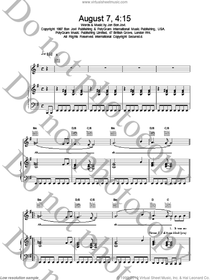 August 7, 4:15 sheet music for voice, piano or guitar by Bon Jovi, intermediate skill level