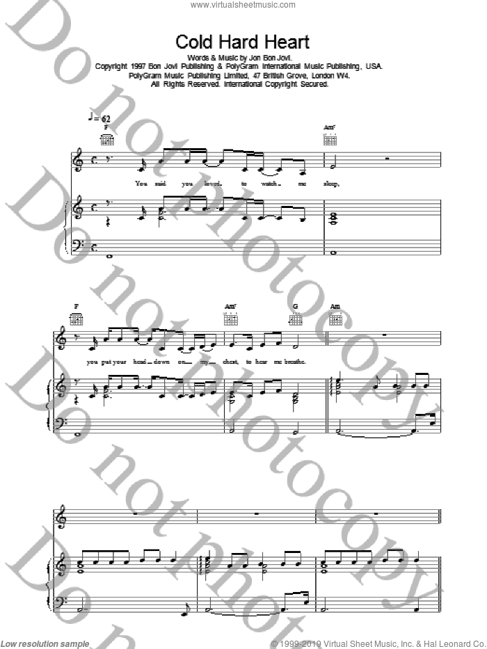 Cold Hard Heart sheet music for voice, piano or guitar by Bon Jovi. Score Image Preview.
