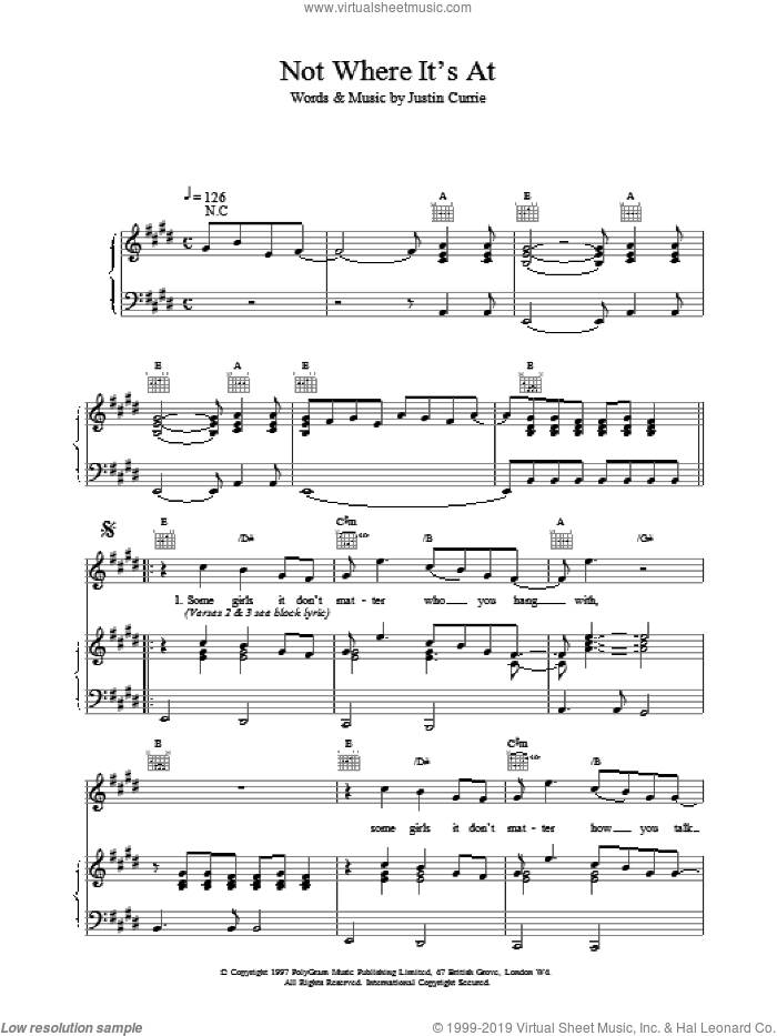 Not Where It's At sheet music for voice, piano or guitar by Justin Currie and Del Amitri. Score Image Preview.
