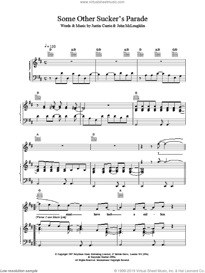 Some Other Sucker's Parade sheet music for voice, piano or guitar by Justin Currie and Del Amitri. Score Image Preview.