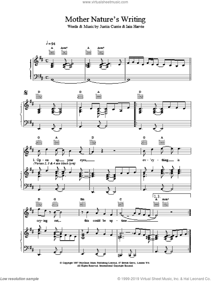 Mother Nature's Writing sheet music for voice, piano or guitar by Del Amitri and Justin Currie. Score Image Preview.