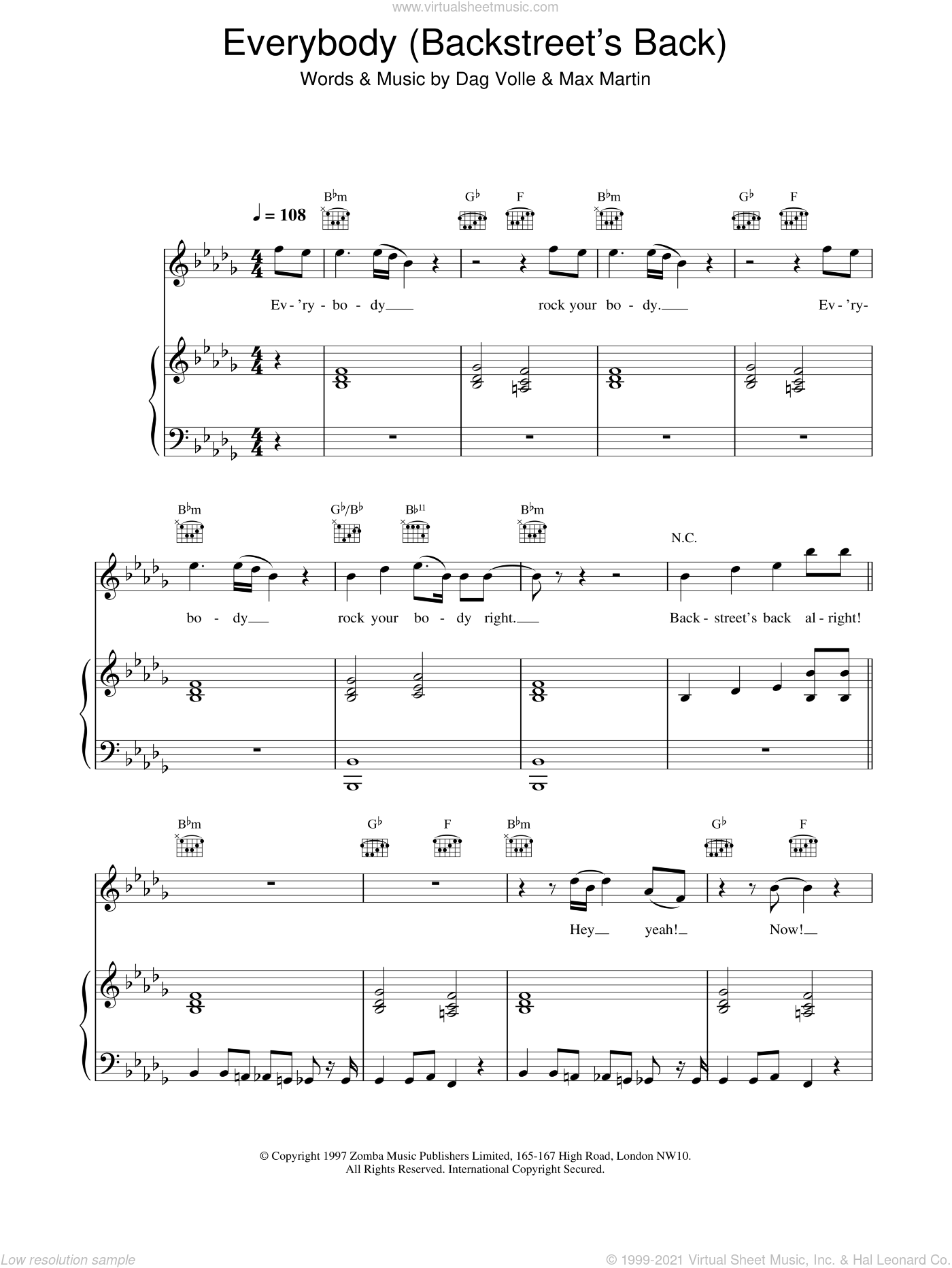 Everybody (Backstreet's Back) sheet music for voice, piano or guitar by Dag Volle