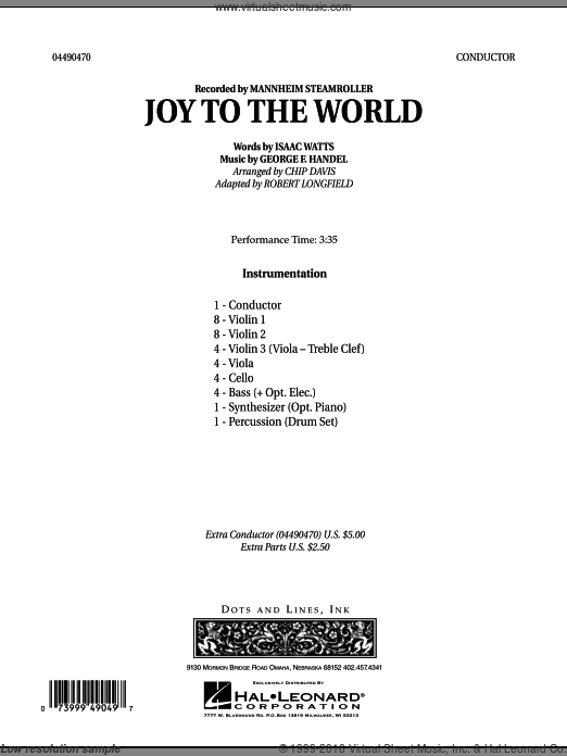 Joy To The World (COMPLETE) sheet music for orchestra by Robert Longfield, Chip Davis and Mannheim Steamroller. Score Image Preview.