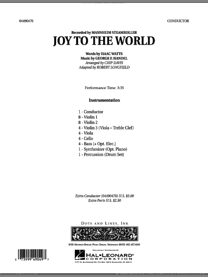 Joy To The World (COMPLETE) sheet music for orchestra by Robert Longfield, Chip Davis and Mannheim Steamroller, intermediate skill level