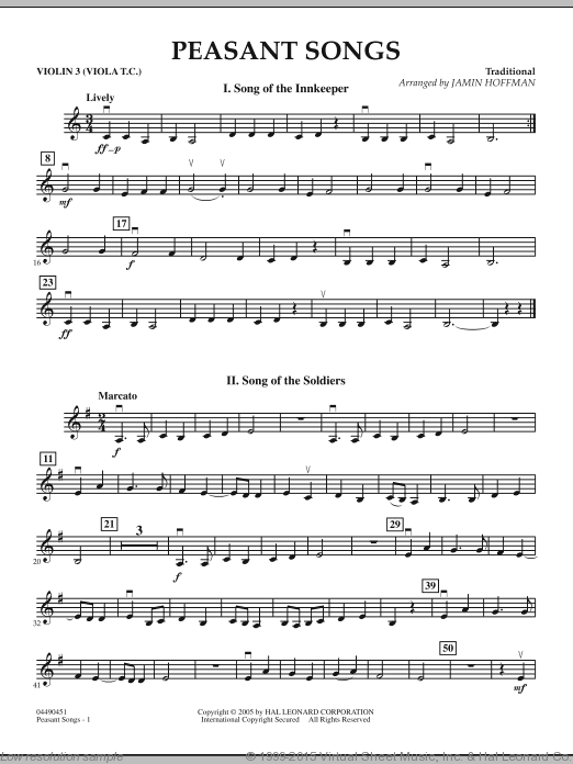 Peasant Songs (COMPLETE) sheet music for orchestra by Jamin Hoffman