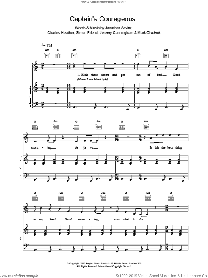 Captain's Courageous sheet music for voice, piano or guitar by The Levellers. Score Image Preview.