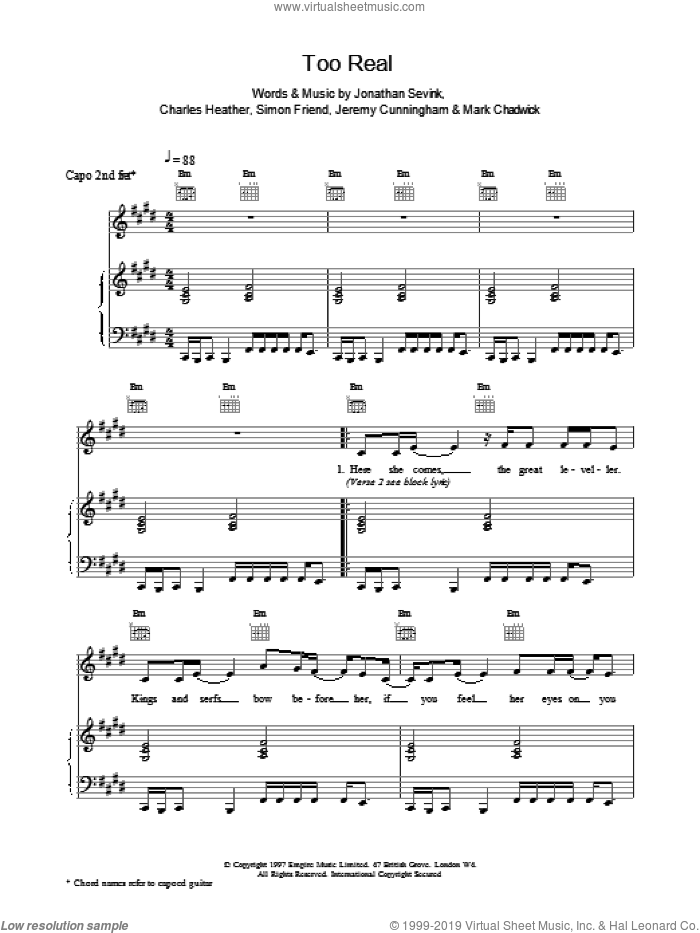 Too Real sheet music for voice, piano or guitar by Simon Friend