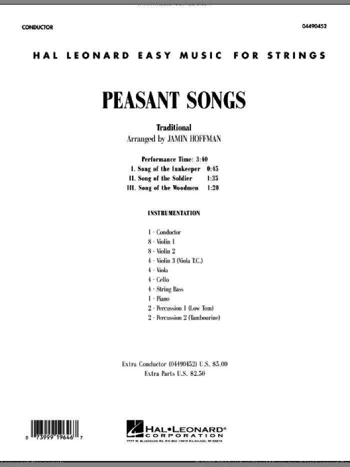 Peasant Songs (COMPLETE) sheet music for orchestra by Jamin Hoffman, intermediate skill level