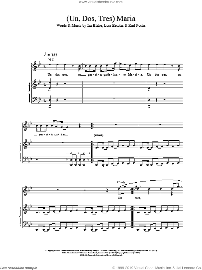(Un, Dos, Tres) Maria sheet music for voice, piano or guitar by Luis Gomez Escolar and Ricky Martin. Score Image Preview.
