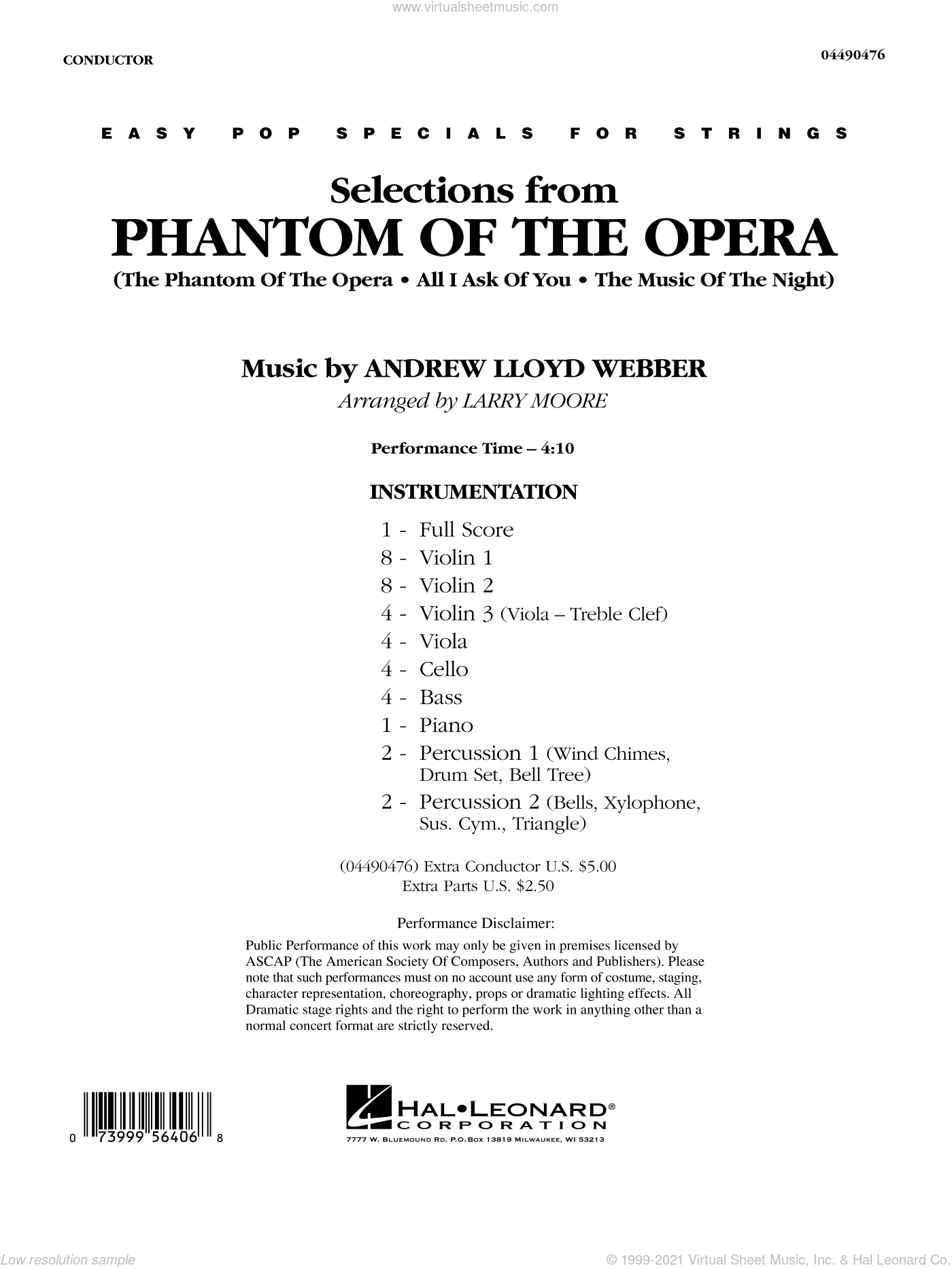 Selections from Phantom Of The Opera sheet music for orchestra (full score) by Andrew Lloyd Webber