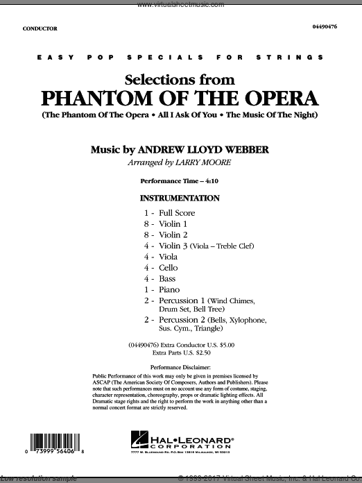 Selections from Phantom Of The Opera (COMPLETE) sheet music for orchestra by Andrew Lloyd Webber