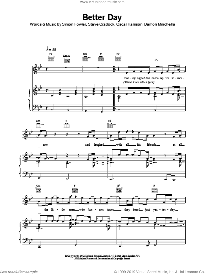 Better Day sheet music for voice, piano or guitar by Oscar Harrison and Ocean Colour Scene. Score Image Preview.