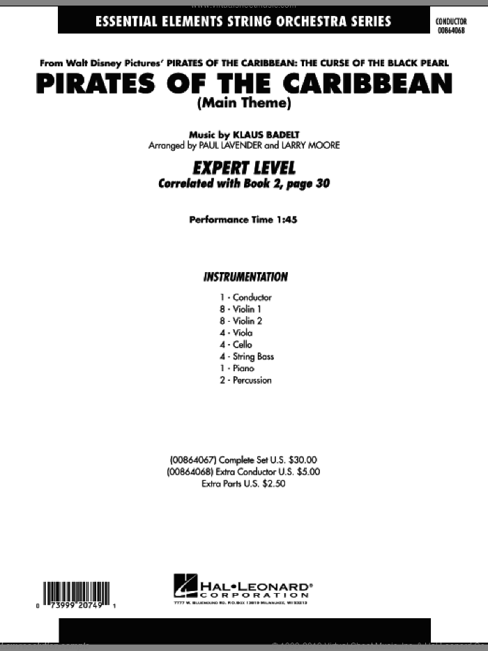 Pirates Of The Caribbean (Main Theme) (COMPLETE) sheet music for orchestra by Klaus Badelt, Larry Moore and Paul Lavender, intermediate skill level