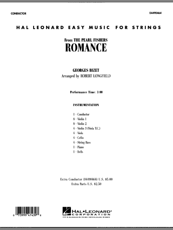 Romance (from The Pearl Fishers) (COMPLETE) sheet music for orchestra by Georges Bizet and Robert Longfield, classical score, intermediate skill level