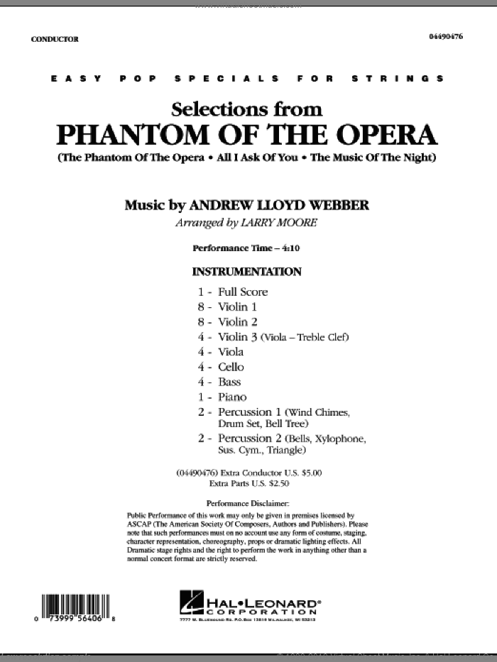Selections from Phantom Of The Opera (COMPLETE) sheet music for orchestra by Andrew Lloyd Webber and Larry Moore, intermediate skill level
