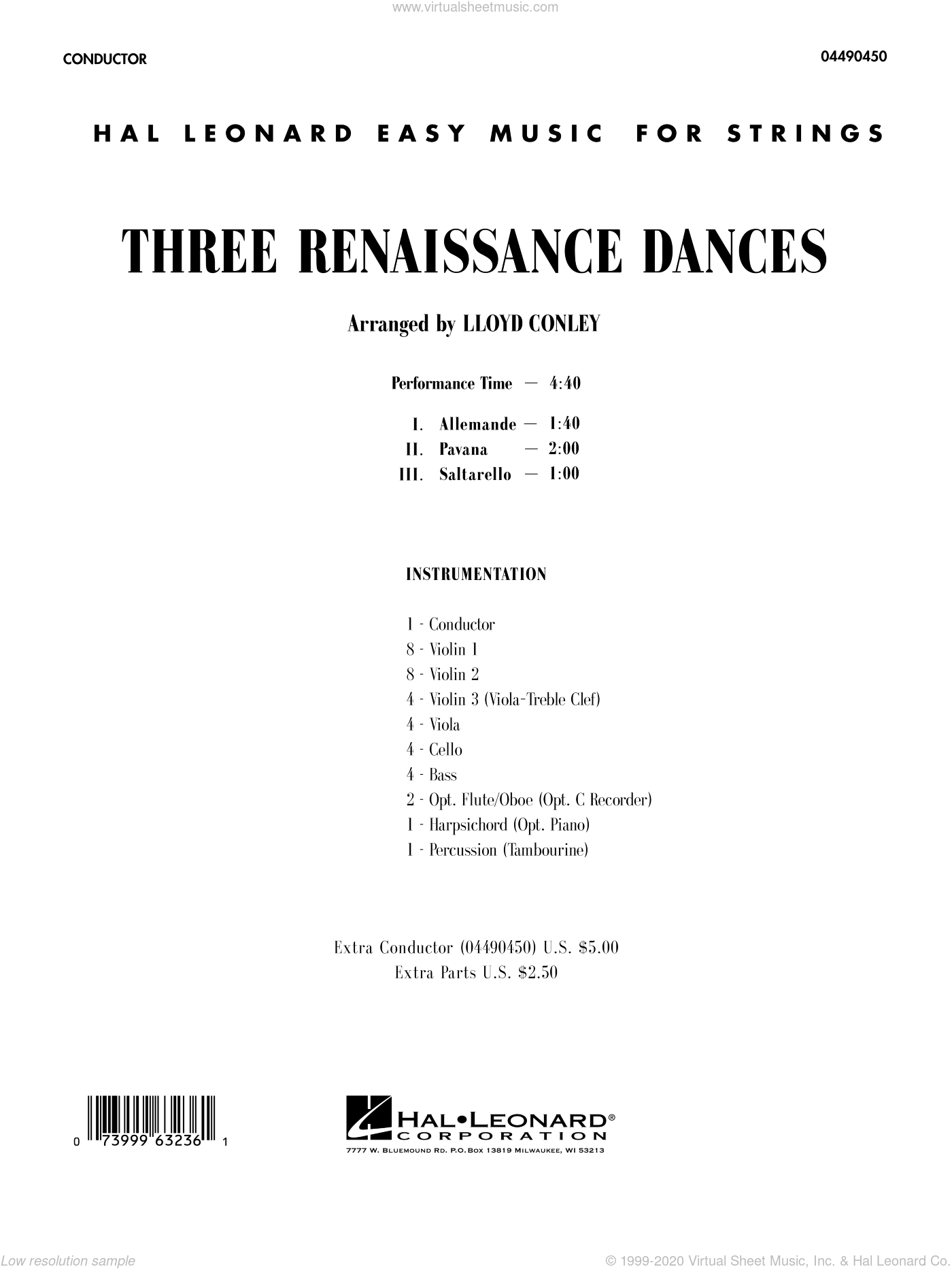 Three Renaissance Dances sheet music for orchestra (full score) by Lloyd Conley