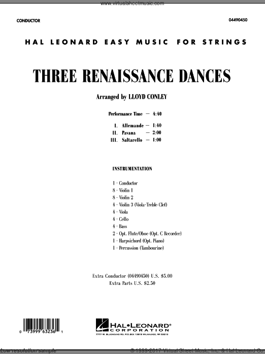 Three Renaissance Dances (COMPLETE) sheet music for orchestra by Lloyd Conley