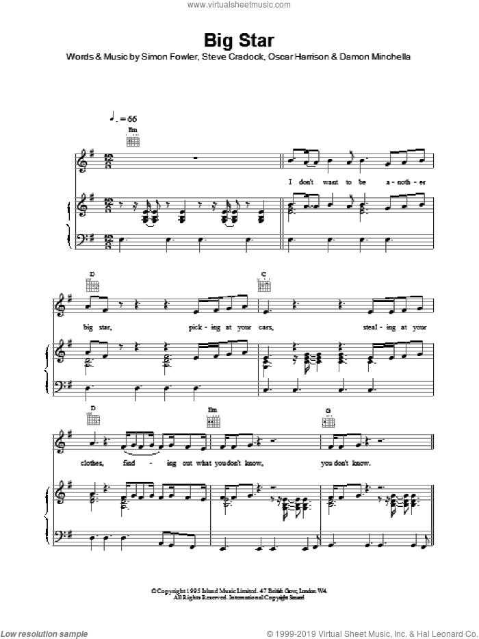 Big Star sheet music for voice, piano or guitar by Ocean Colour Scene, intermediate voice, piano or guitar. Score Image Preview.