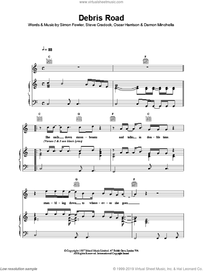Debris Road sheet music for voice, piano or guitar by Oscar Harrison