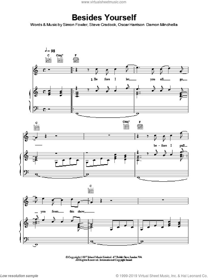 Besides Yourself sheet music for voice, piano or guitar by Ocean Colour Scene. Score Image Preview.