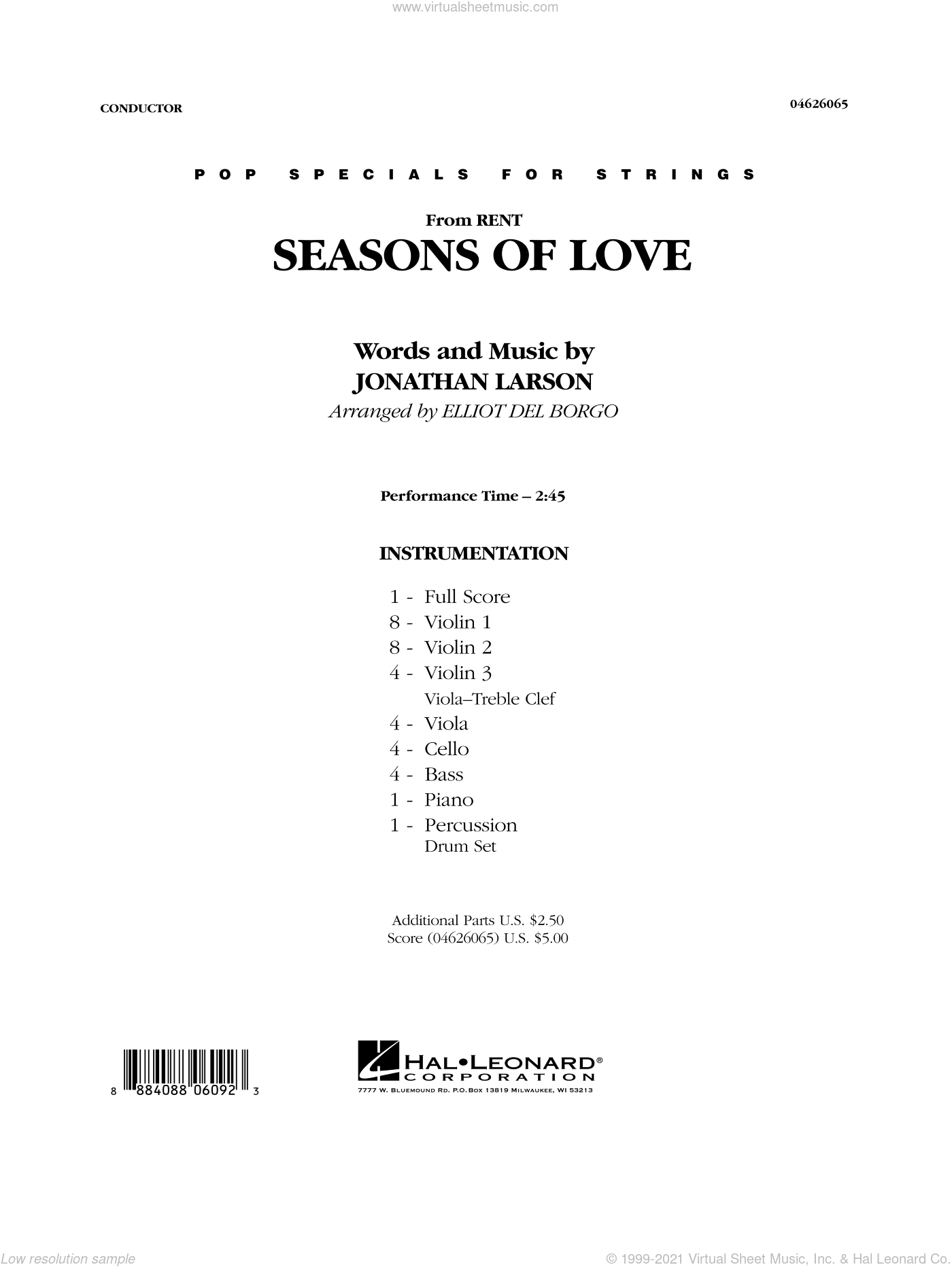 Seasons Of Love sheet music for orchestra (full score) by Jonathan Larson