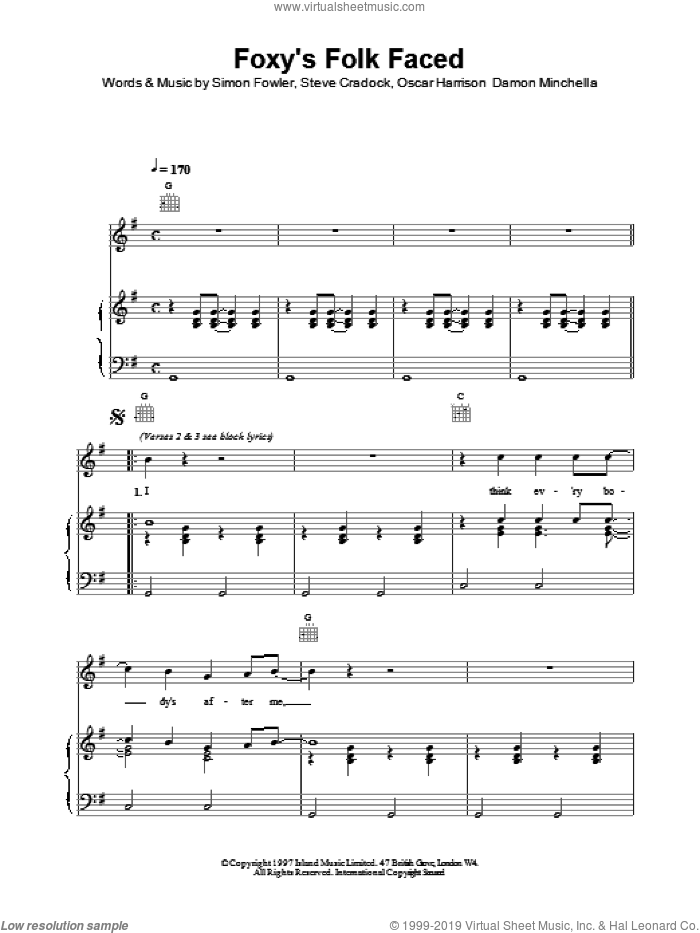 Foxy's Folk Faced sheet music for voice, piano or guitar by Ocean Colour Scene. Score Image Preview.