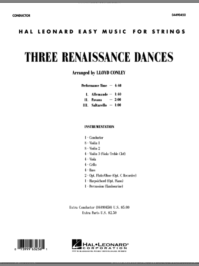 Three Renaissance Dances (COMPLETE) sheet music for orchestra by Lloyd Conley, intermediate skill level