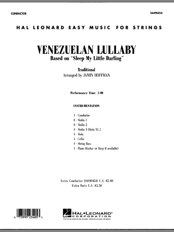 Venezuelan Lullaby (COMPLETE) sheet music for orchestra by Jamin Hoffman, intermediate skill level