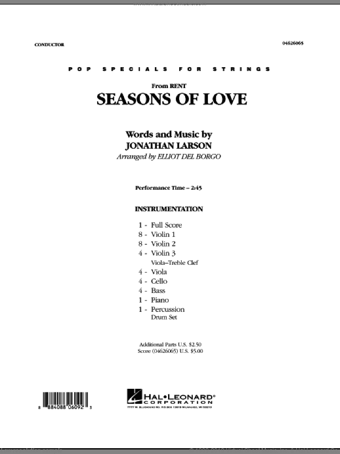 Seasons Of Love (COMPLETE) sheet music for orchestra by Jonathan Larson and Elliot Del Borgo, intermediate. Score Image Preview.