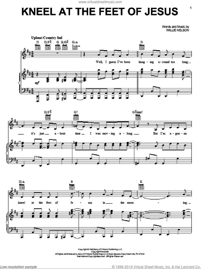 Kneel At The Feet Of Jesus sheet music for voice, piano or guitar by Willie Nelson, intermediate skill level