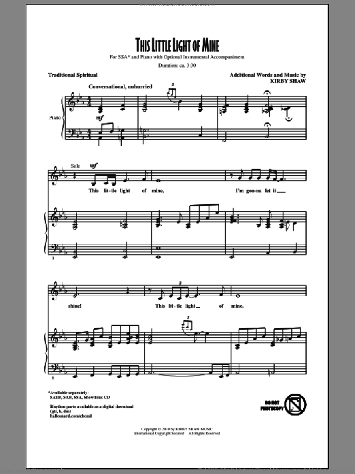 This Little Light Of Mine sheet music for choir (soprano voice, alto voice, choir) by Kirby Shaw