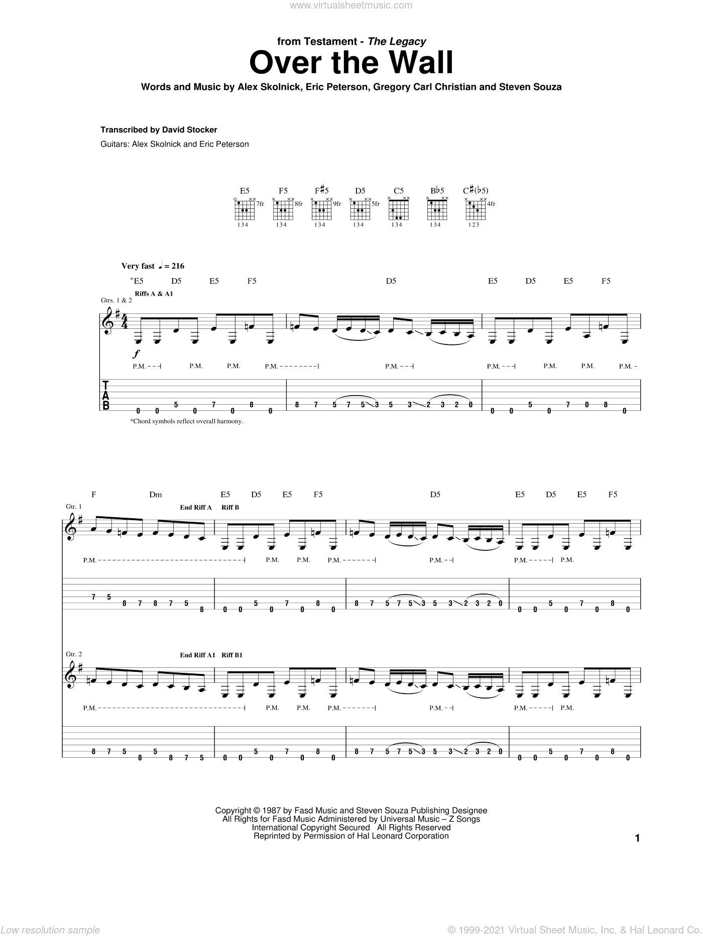 Over The Wall sheet music for guitar (tablature) by Testament, intermediate guitar (tablature). Score Image Preview.